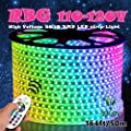 Hypergiant AC 110-120V Flexible RGB LED Strip Lights, 60 LEDs/M, Waterproof, Multi Color Changing 5050 SMD LED Rope Light + Remote Controller for Party Christmas Decoration (32.8ft/10m)
