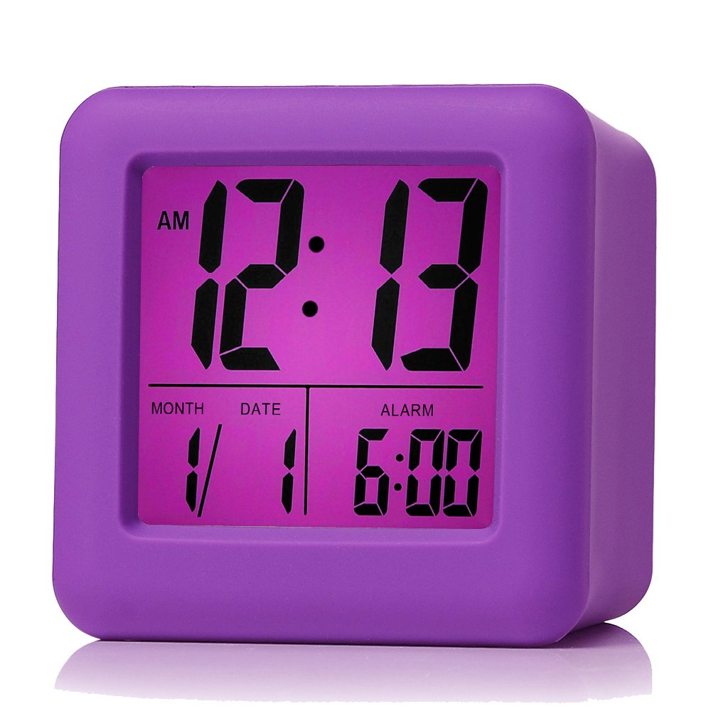 Plumeet Easy Setting Digital Travel Alarm Clock Snooze,Soft Nightlight,Large Display Time & Month & Date & Alarm, Ascending Sound Alarm & Handheld Sized, Best Gift Kids (Purple) by Plumeet