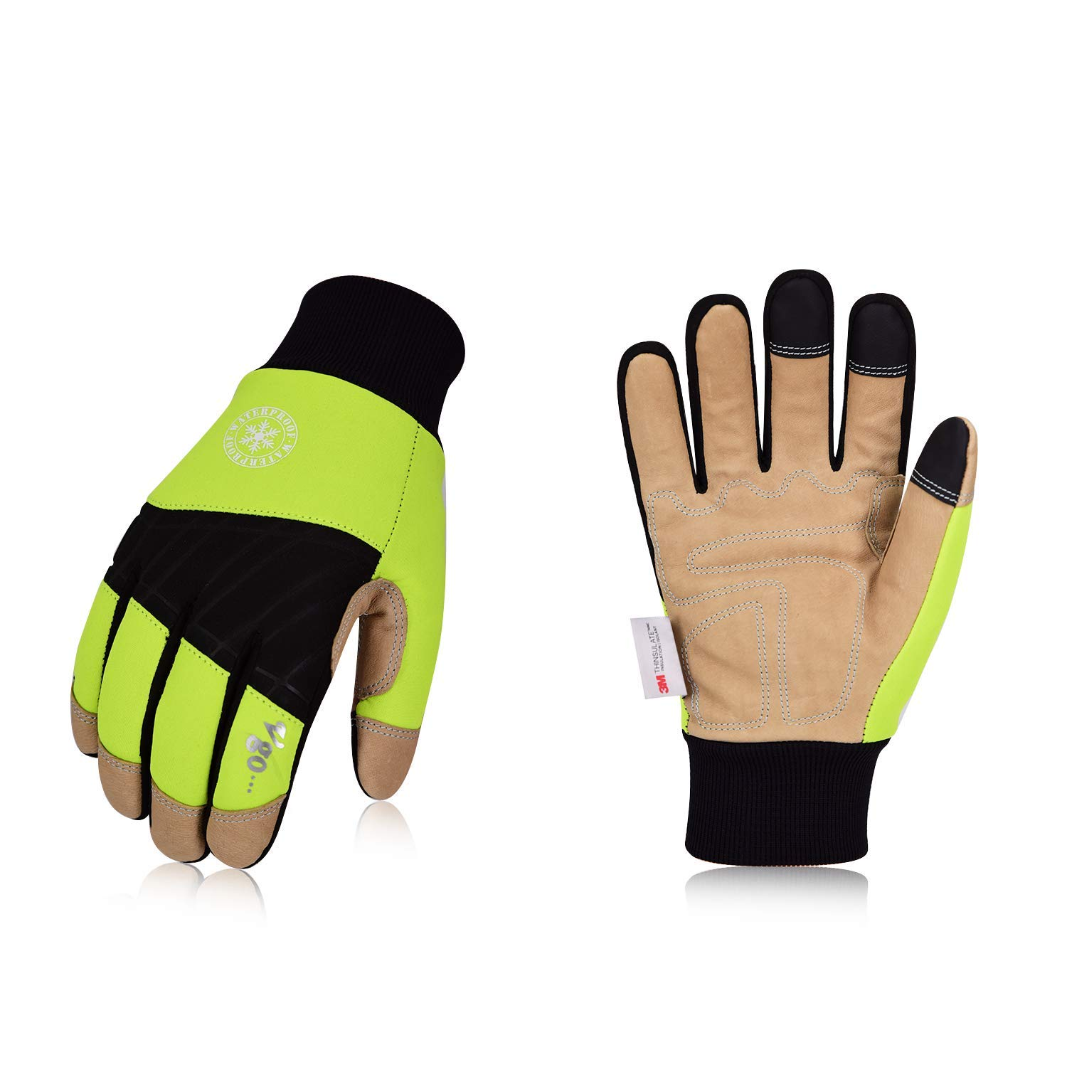 0d9969fcf 1Pair,Size L,Fluorescence Green,PA1015FW Lab, Safety & Work Gloves Vgo 32℉  or above 3M Thinsulate ...
