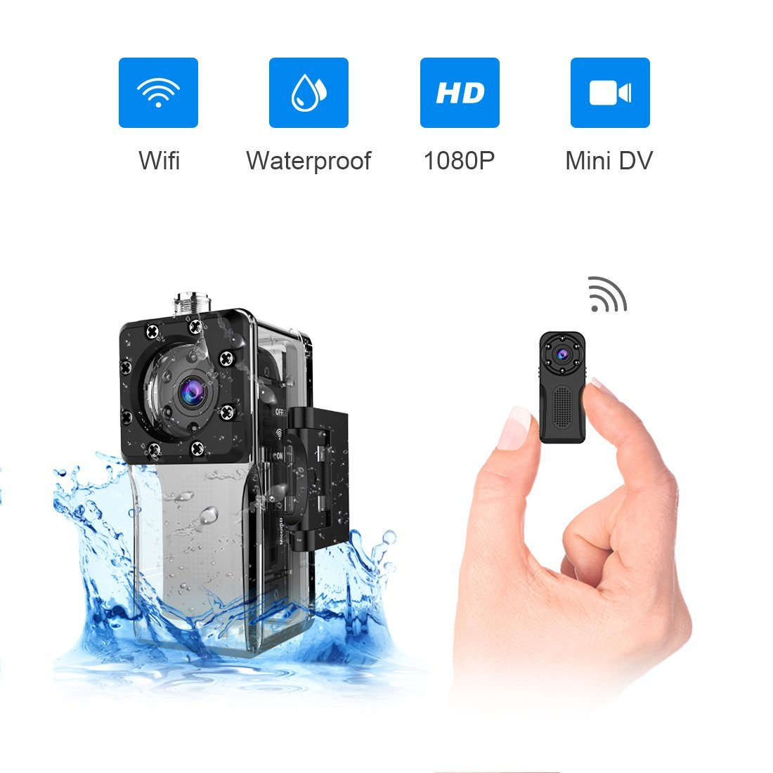 Waterproof WiFi Mini Spy Hidden Camera,ZZCP Full HD 1081P Portable Small Wireless Nanny Cam with Night Vision and Motion Detection,Perfect Covert Tiny Security Camera for Indoor and Outdoor