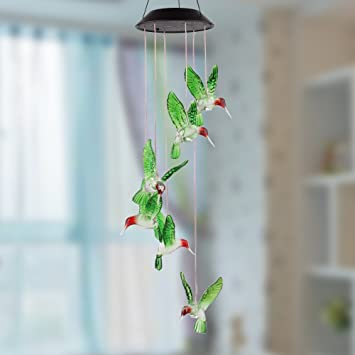 Charming Amzdeal Hummingbird Solar Mobile Solar Mobile Wind Chime Solar Powered LED  Light Color Changing Hummingbird Wind