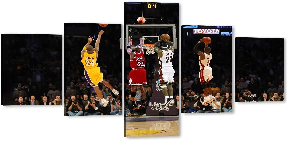 "Large Canvas Wall Art Michael Jordan Kobe Bryant Lebron James Wade Game-Winning Shot Collection Art for Home Wall Decor, NBA Star Posters for Men Boy Room Decorations for Bedroom, Office (50"" W24 H)"