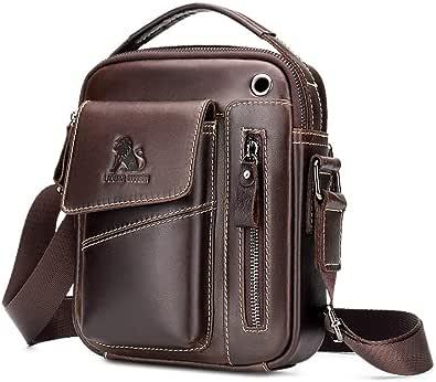 Bolso de hombro de los hombres Pequeños bolsos de cuero Vintage Crossbody Top Handle Bag Casual Business Bag