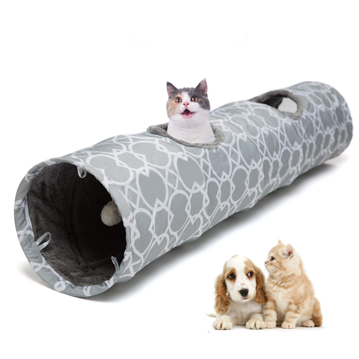Luckitty Large Cat Toys Collapsible Tunnel Tube with Plush Balls, for Rabbits, Kittens, Ferrets,Puppy and Dogs,Grey,White by Luckitty