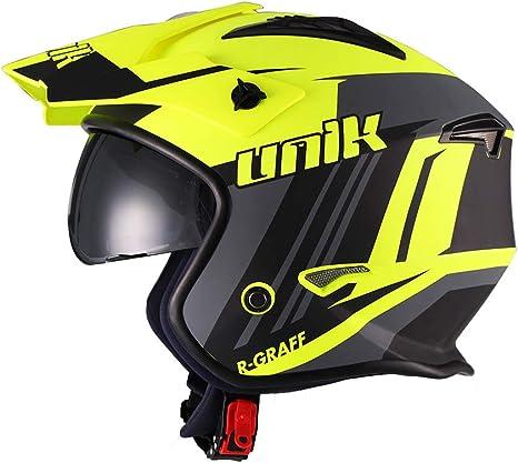 colore r-graff Giallo Fluo//Nero Opaco L 59-60 cm. Giallo fluorescente//Nero opaco /casco Jet Trial aperto ct-07 Unik/