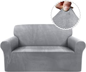 TAOCOCO Velvet Loveseat Couch Cover Soft Sofa Cover Stretch Slipcover Velour Furniture Protector for 2 Cushion Couch with Elastic Bands for Kids Pets, Grey Light