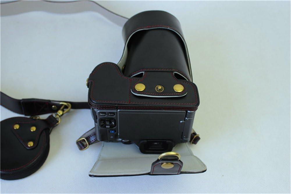 Neck Strap K-S2 Case Mini Storage Bag -Coffee BolinUS Handmade PU Leather FullBody Camera Case Bag Cover for Pentax K-S2 KS2 with 16-185mm 50-200mm lens Bottom Opening Version