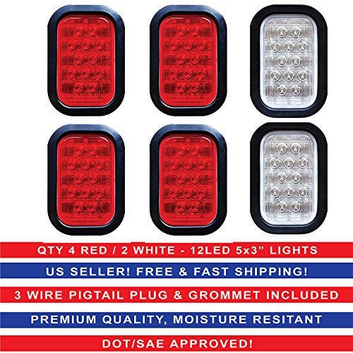 5×3″ 4x Red 2xWhite Rectangle 12 LED Stop/Turn/Tail & Backup/Reverse Truck Trailer Hitch Light Grommet Wire Kit