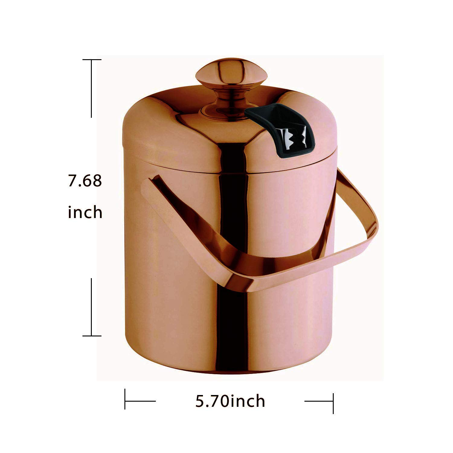 Ice Bucket with Lid and Tongs Double Walled Thick Ice Pail 1.5 L Chromed Stainless Steel for Parties Bars /&Kitchen