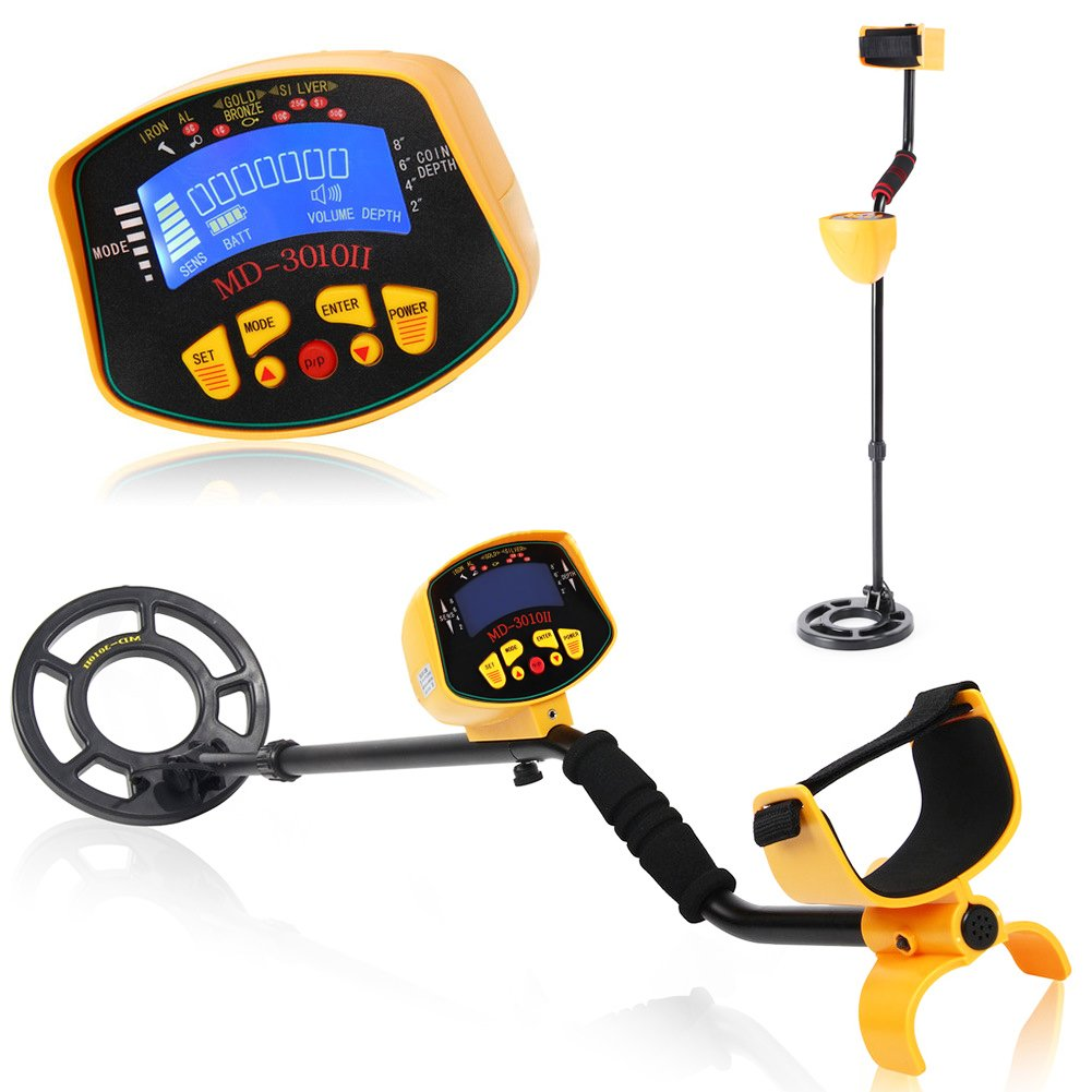 Metal Detector-Underground Waterproof Metal Finder with LED Flash Light/Discrimination Mode and Pinpoint Function-High Accuracy &Pinpoint Function for Detecting Any Metals Outdoors &Indoors (MD3010)