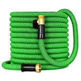 Besiter Expandable Garden Hose-New 2018 100ft {UPGRATED} Expanding Hose with 3/4 Heavy Duty Brass Connectors-Lightweight and Kink Free Flexible Water Hose for Lawn Car Washing & Commercial Use Green