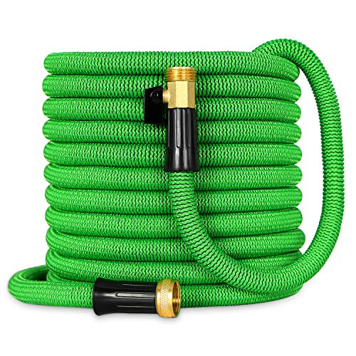 Besiter Expandable Garden Hose-New 2018 75ft {UPGRATED} Expanding Hose with 3/4 Heavy Duty Brass Connectors-Lightweight and Kink Free Flexible Water Hose for Lawn Car Washing & Commercial Use Green