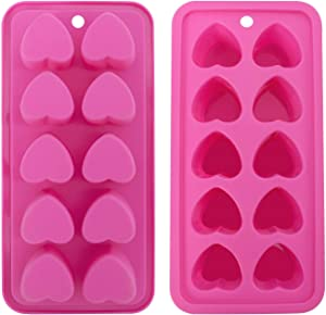 Heart-shaped Ice Cube Trays,Fun Silicone Ice Cube Trays for Make Heart-shaped Ice Cube,Easy Release Ice Cube Mold for Cocktails,Whiskey,Water Bottles,Baby Food,BPA Free and Dishwasher Safe,2pcs