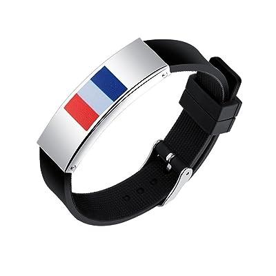 Naisidier Bracelet Sport Football Fan Bracelet Cheerleading Bracelet Durable Femme Homme Non-toxique RUSIA FIFA WORLD CUP 2018 Silicone Drapeau Français