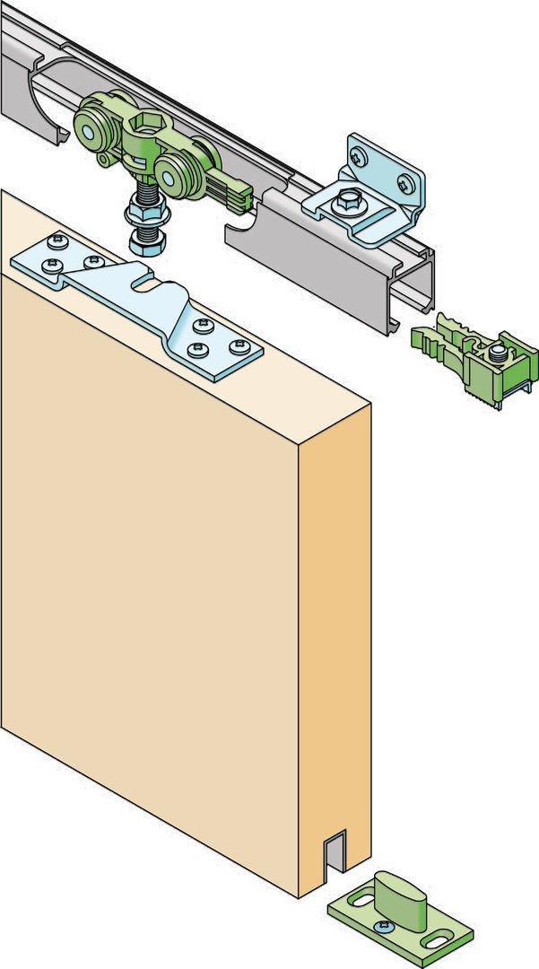 RONIN FURNITURE FITTINGS/®Schiebet/ürbeschlag 70 KG Alu-Schiene 160cm Schiebet/ür Deckenmontage T/ürbreite 71-90cm