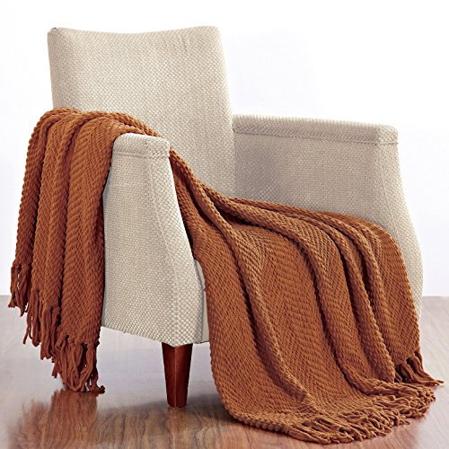Living spaces couches. Home Soft Things Boon Knitted Tweed Throw Couch Cover Blanket, 50 x 60, Rust