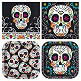 Unique Skull Day of The Dead Party Bundle | Luncheon & Beverage Napkins, Dinner & Dessert Plates | Great for Halloween Parties and Themed Festivities