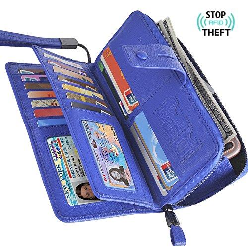 (Bosiw Woman RFID Blocking Trifold Wallet Clutch Credit Card Organizer Travel Purse (Blue))