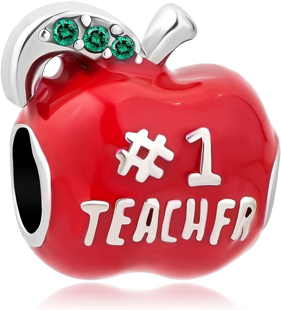ShinyJewelry # 1 Teacher Apple Charm Bead for European Bracelets