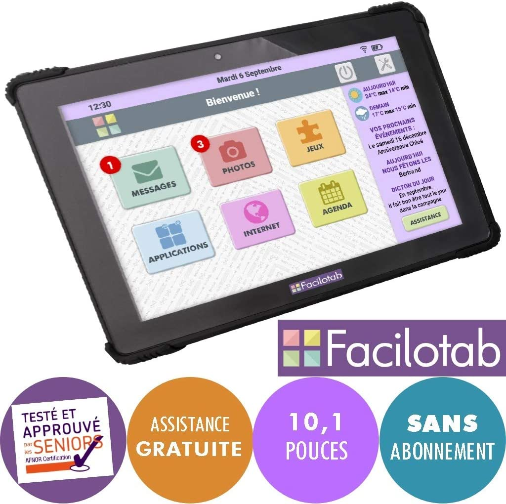 FACILOTAB Tablette L Onyx 10,1 Pouces WiFi//4G Interface simplifi/ée pour Seniors 32 Go Android 7