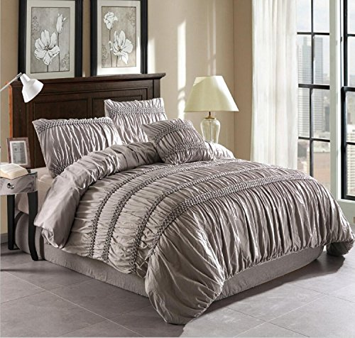 A Nice Night 4-piece Chic Ruched Duvet Cover Set (Queen, Grey)