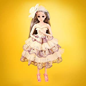 ElaTany BJD Dolls, 1/4 SD Doll 18 Inch 18 Ball Jointed Doll DIY Toys with Full Set Clothes Shoes Wig Makeup, Princess Style, Beautiful Gift for Girls (Yellow Dress 3)