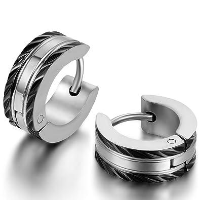 Jewelrywe Joyas 2pcs Pendientes de Hombre Mujer Pendientes de Aros Acero Inoxidable Negro Unisex(Con bolsa de regalo), Pendientes HipHop