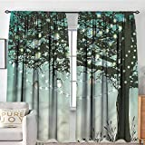 Room-Darkening Blackout Curtain Set with Rod Pocket, 84 inch Wide by 72 inch Long, Magical, Tree Ornamented Lantern Sky