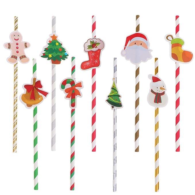 Amazon.com: Nuobesty 90 pajitas de papel de Navidad con pan ...