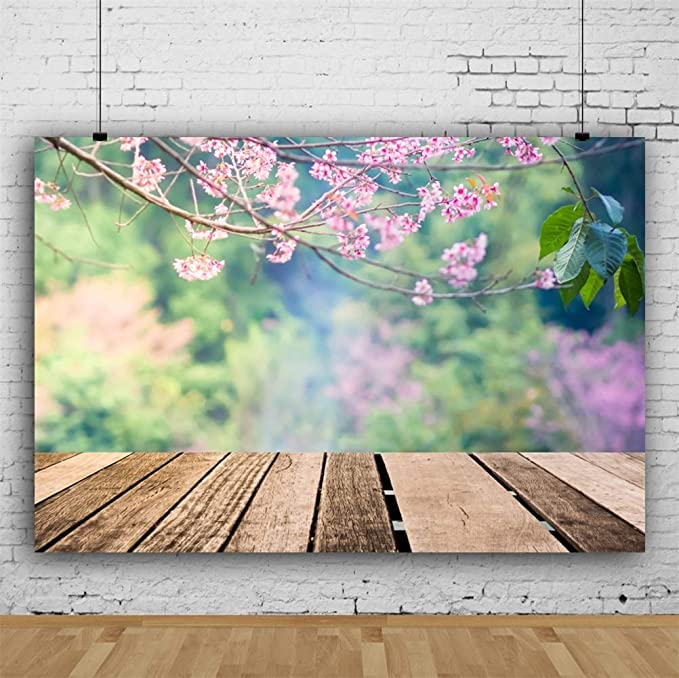 7x10 FT Floral Vinyl Photography Background Backdrops,Vintage Shabby Chic Branches Cottage Style Blossoming Bluebells Pansy Cottage Theme Background Newborn Baby Portrait Photo Studio Photobooth Props