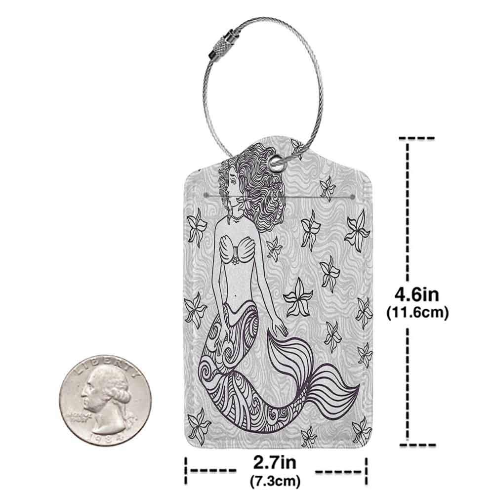 Durable luggage tag Mermaid Spiritual Magical Mermaid Woman in Waves with Shell Flower Nymph Mythological Art Print Unisex Grey W2.7 x L4.6