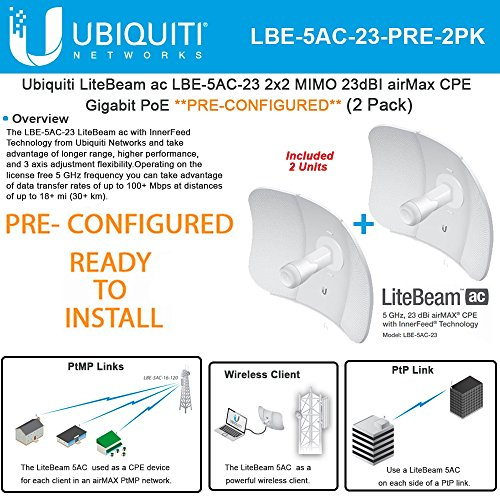 Ubiquiti LiteBeam 5ac LBE-5AC-23 PRECONFIGURED 5GHz 23dBI airMax Gigabit(2Pack) by Ubiquiti Networks