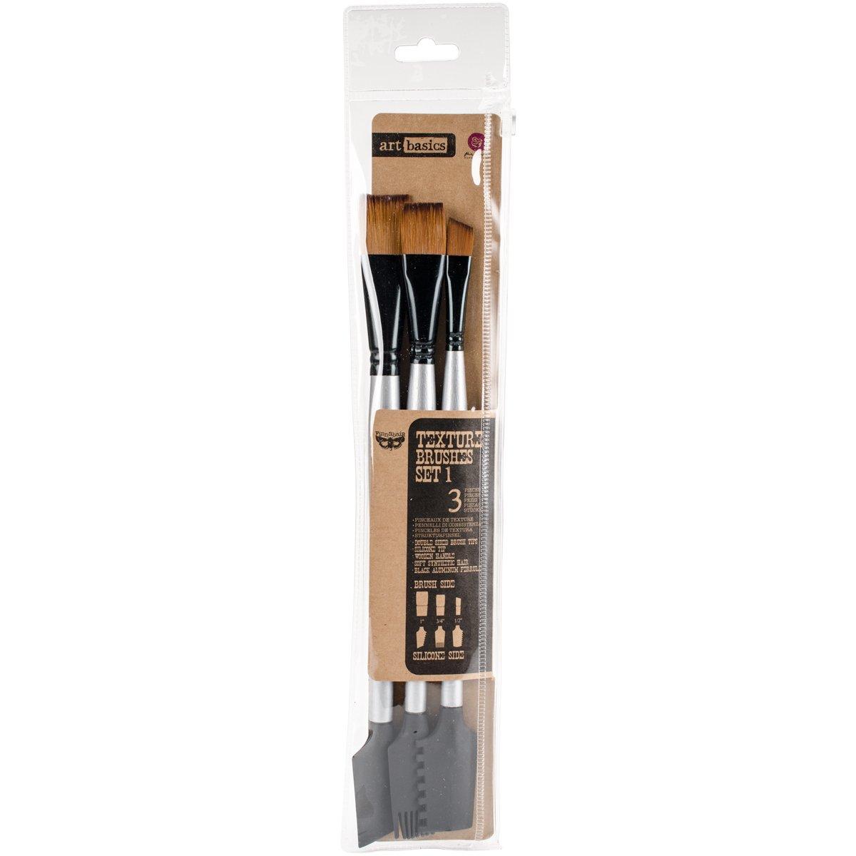 Prima Marketing 963873 Texture No.1 Finnabair Art Basics Double Ended Brush Set (3/Pack), Silver