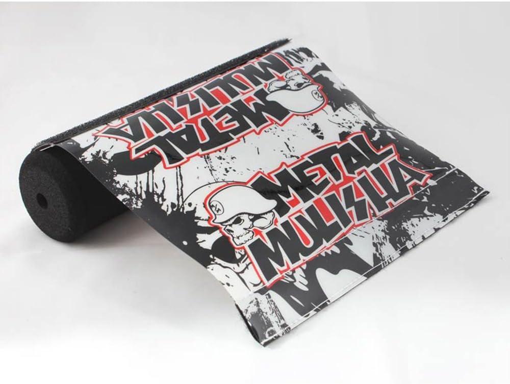 QQ Studio Short White Pad & Black Text Metal Mulisha Soft Impact Reducing Dense Foam Sponge Protector Pads for BMX Trick Bicycles ATVs Motorcycles (7.87in Length) 61naGcwRTUL