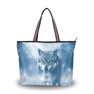 93dfcfac5f8e Amazon.com: MAPOLO Wolf Blue Eyes In Freezing Forest Fashion ...