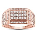 10K Affordable Mens Natural 0.5 Ctw Sparkling Diamond Ring For Him (Yellow Gold Size 10.5)