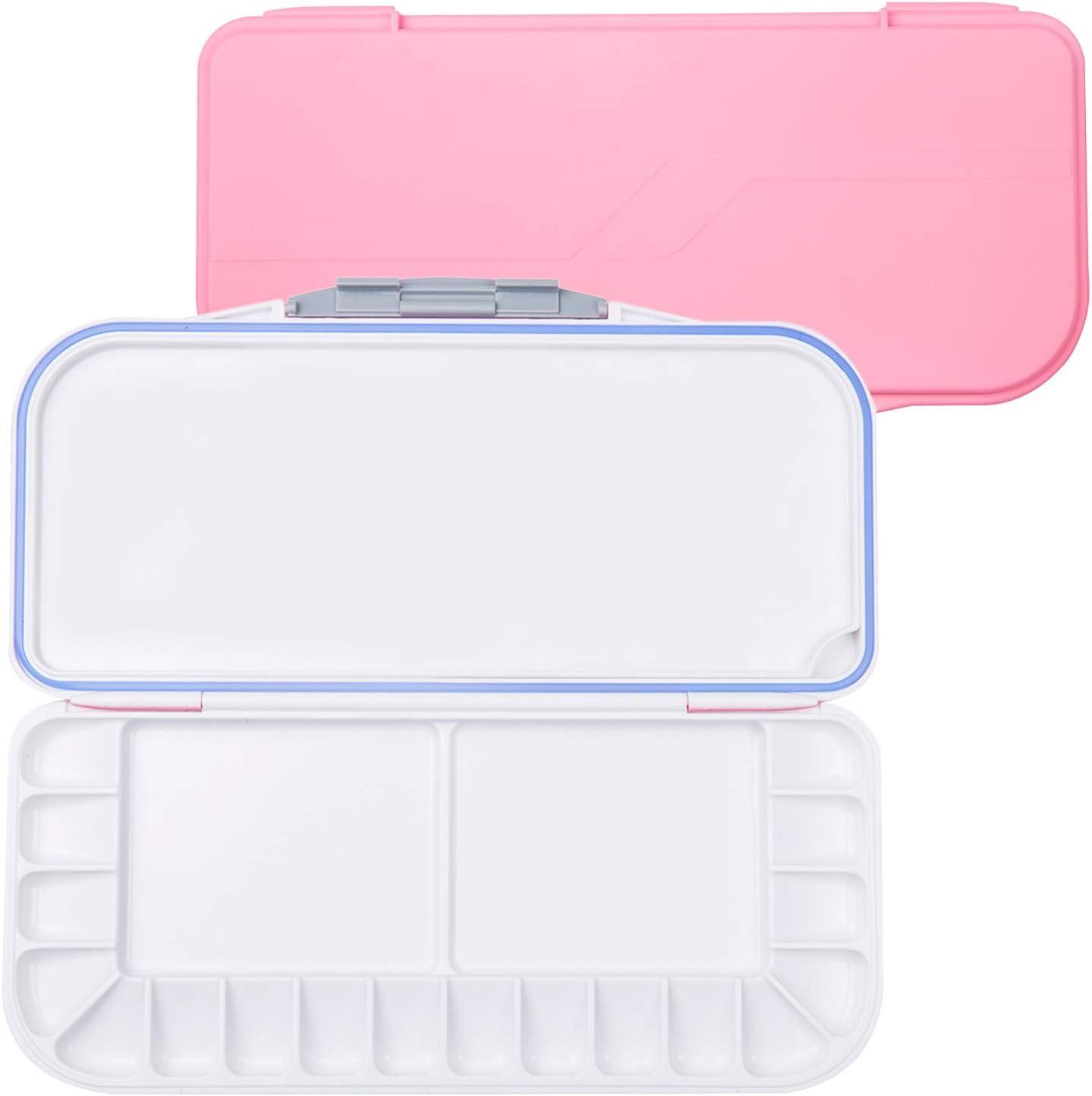 18-Wells Watercolor Paint Palette,Premium Moisturizing Foldable Travel Portable Folding Paint Palette Box Pink, 18-Wells