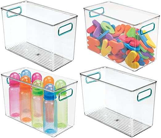 Nursery Clear//Sea Blue Toys Bedroom Baby Food Bottles Holds Snacks Wipes 2 Pack Playroom 10 Long mDesign Storage Organizer Bin Box with Lid for Kid Supplies in Kitchen Pantry Diapers