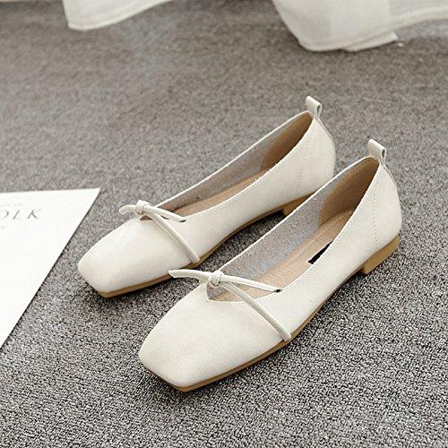 Xue Qiqi Quadrat Hellen Flache Schuhe mit Hellen Quadrat Wohnung mit Einzelnen Schuhe Weiblichen Bow Tie Niedrig mit Wilden Frauen Schuhe Beige 03ac9e