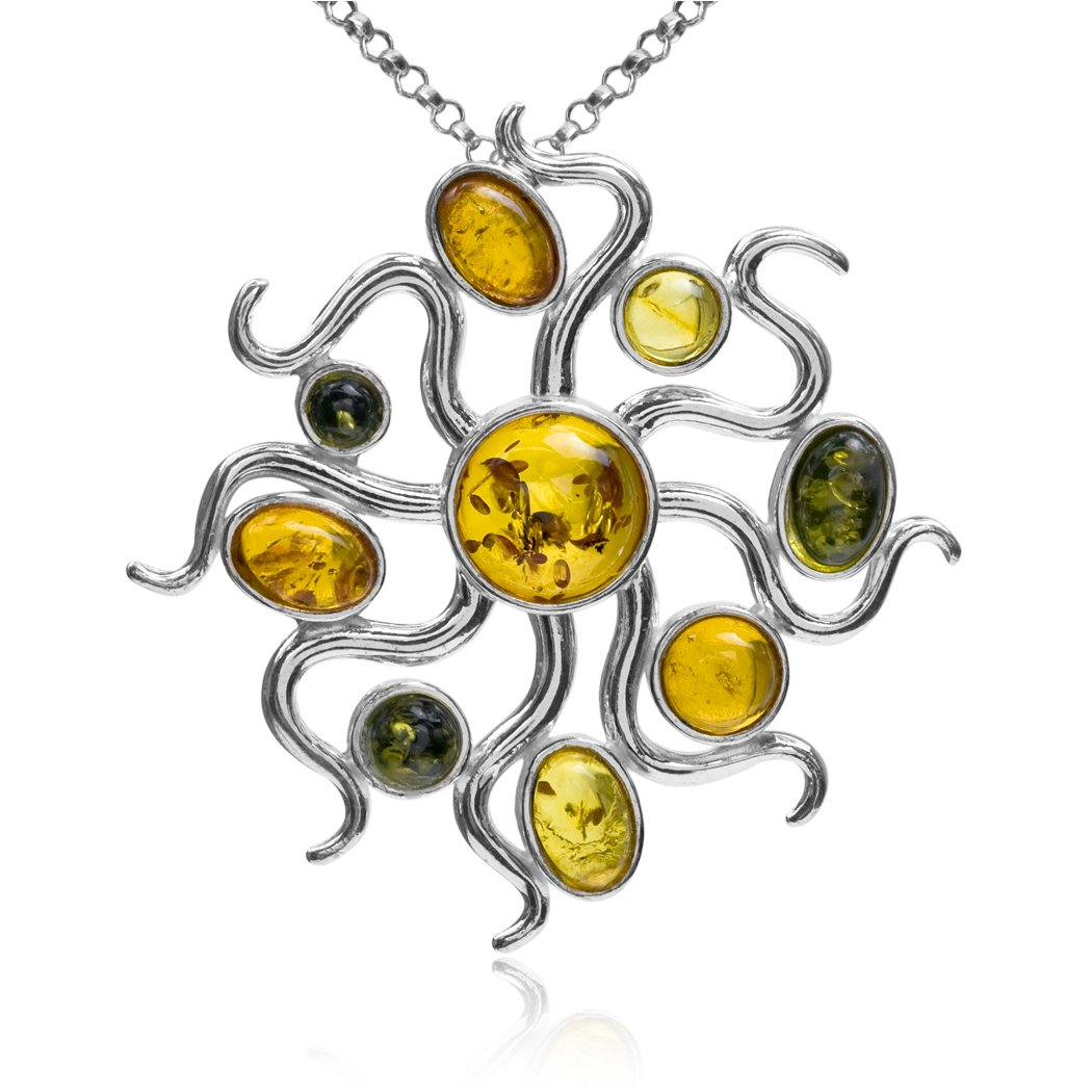 Ian and Valeri Co Multicolor Amber Sterling Silver Contemporary Designer Pendant Necklace Chain 18