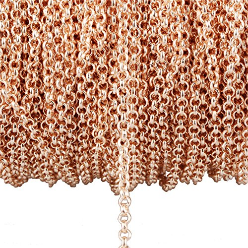 (32.8ft Do not Fade Rose Gold Plated Twisted Chains Metal Cable Chain Link Jewelry Making Chain for DIY Making Bracelet Necklace (3.2mm O-Type Chain))