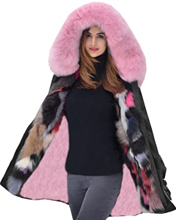 e0e698a1a Amazon.com: Aofur Womens Winter Jacket Pink Fur Collar Hooded Coat ...
