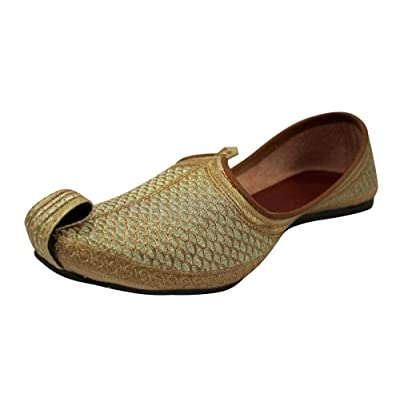 Punjabi Jutti for Mens Gold Khussa Shoes Ethnic Jutti Indian Shoes Wedding Shoes | Loafers & Slip-Ons