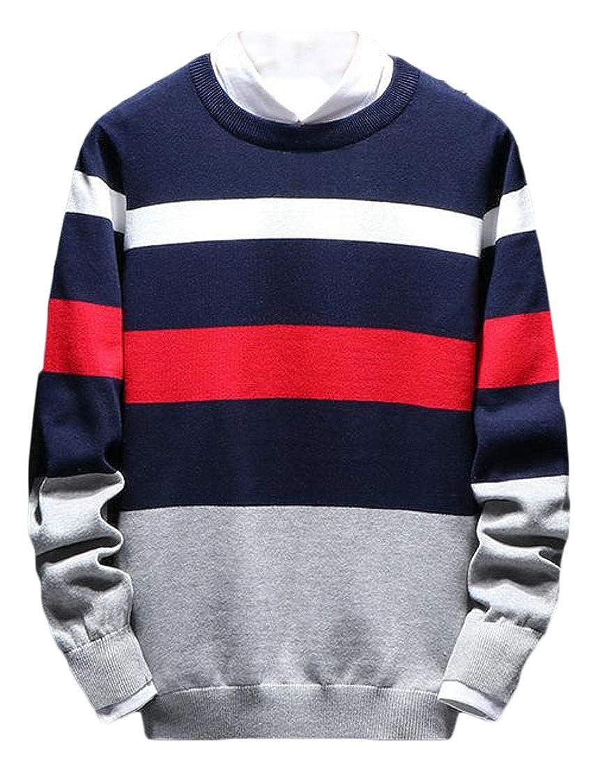 Macondoo Mens Autumn Stripe Crew Neck Knitwear Pullover Casual Sweater Jumper