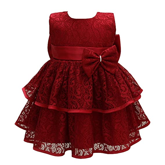 92d44d9ffe2 AHAHA Baptism Dresses for Baby Girls Princess Wedding Dress Baby Birthday  Party Dress Deep Red