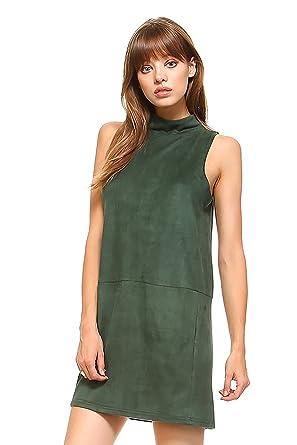 fefda93479a SHOPGLAMLA Solid Colors Mock Neck Trapeze Sleeveless Mini Tunic Dress Made  In USA. Suede -