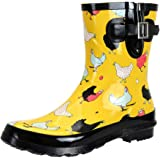 SheSole Women's Waterproof Rubber Short Rain Boots Chicken Printed