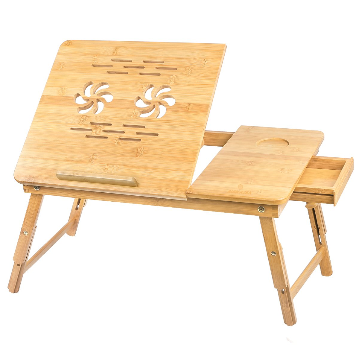 Bed Tray Table Breakfast Serving Desk Bamboo Laptop Desk with Drawer Adjustable Foldable Lap Table with Cup Holder by BAMBUROBA