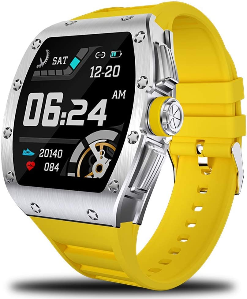 Smart Watch with Blood Pressure Monitor for Android and iOS Phone IP68 Waterproof Smart Wristband Watch with Running Pedometer Step Counter Sleep Tracker for Women Men Samsung Phones (Yellow)