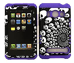 HYBRID IMPACT SILICONE CASE + LIGHT PURPLE SKIN FOR HTC EVO 4G A9292 SWIRLING SKULLS